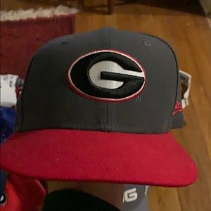 Gray red uga snapback cap hat